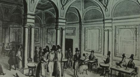 """Caffè Doney nell'Ottocento. Fonte: Spignoli Teresa, """"Caffè letterari a Firenze"""", Firenze, Edizioni Polistampa, 2009, p.94."""